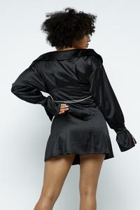 THE AUDREY BLACK SATIN OFF THE SHOULDER DRESS