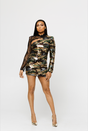 THE JANE SEQUINS CAMOUFLAGE DRESS