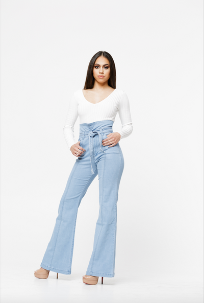 THE MCKENZIE HIGH WAIST STRETCHED FLARED DENIM JEANS
