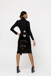 OLIVIA GLOSSY BLACK VEGAN LEATHER SKIRT SET