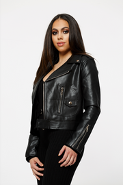 THE STELLA NOIR LEATHERETTE MOTO JACKET