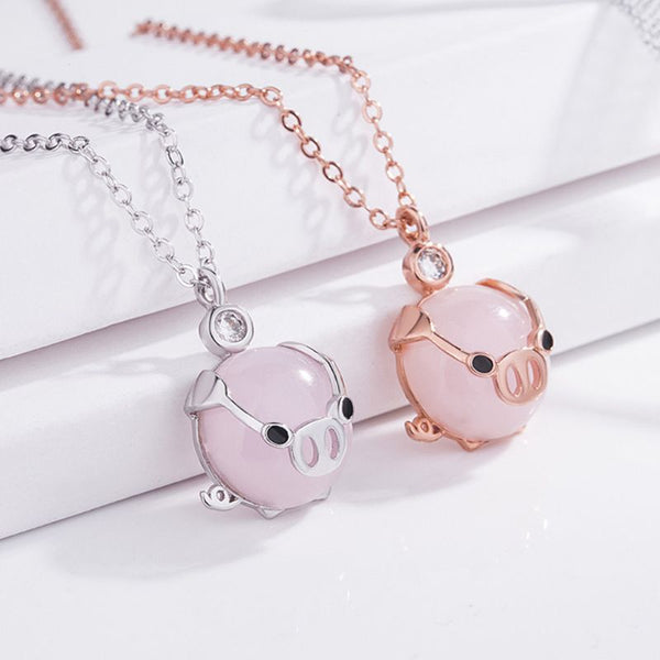 Cute  Gold Rose Crystal  Pig Necklace