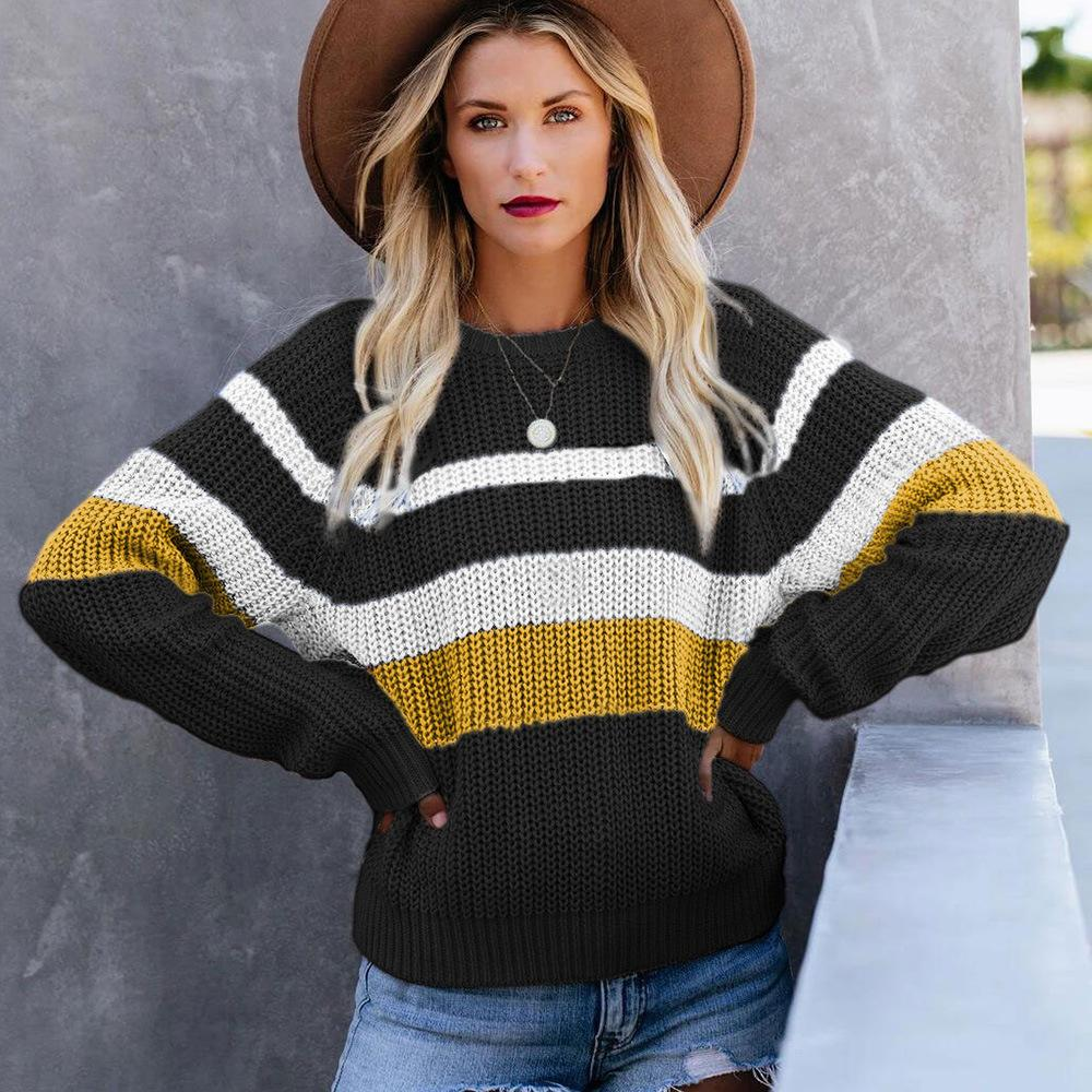 Patchwork Color Loose Striped Sweater