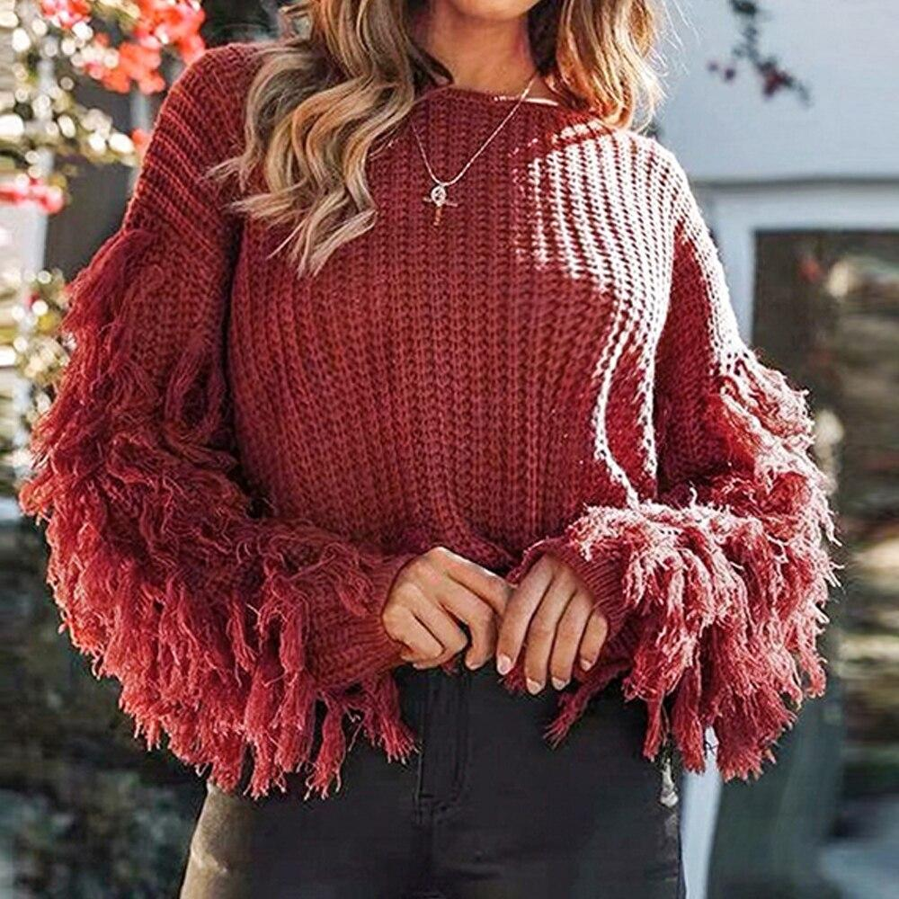 Women Fringe Sleeves Loose Knitted Jumpers Sweater
