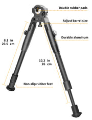 CVLIFE 8-10 Inches Clamp-on Bipod Double Pads Barrel Mount Bipod Folding Adjustable Height Rubber Feet