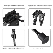 CVLIFE 6-9 Inches Tactical Rifle Bipod Adjustable Spring Return with Quick Release Adapter
