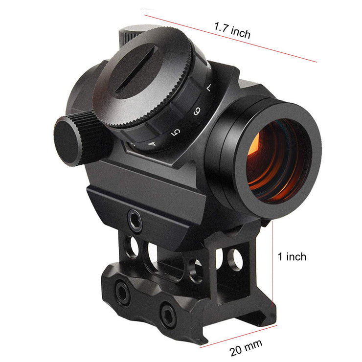 Micro Red Dot Gun Sight 1 x 25mm Reflex Sight, 3-4 MOA Rifle Scope with 1 inch Riser Mount, Black