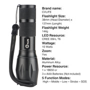 CVLIFE High Quality Portable Rechargeable Zoomable Waterproof LED Flashlight Torch Adjustable 380LM Mini Black