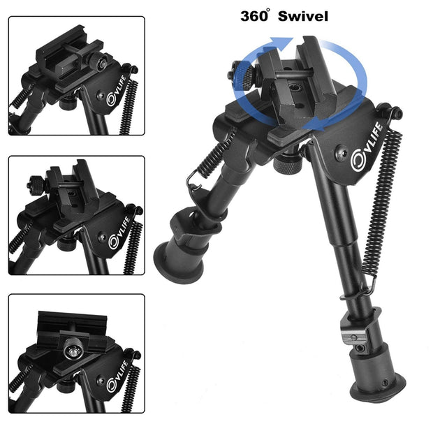 CVLIFE 6-9 Inches Tactical Rifle Bipod Adjustable Spring Return with 360 Degree Swivel Adapter