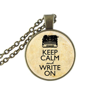 """Keep Calm and Write On"" Typewriter Necklace Pendant"