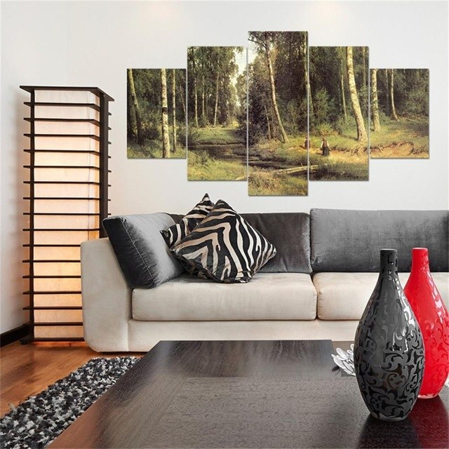 HD Printed 5 Piece Forest/Tower Scenery Landscape Canvas Art Painting Wall Pictures