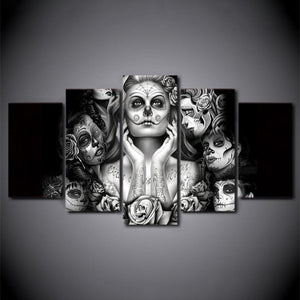 HD Printed Day of The Dead Face 5 Piece Canvas Art Painting (no Frame)