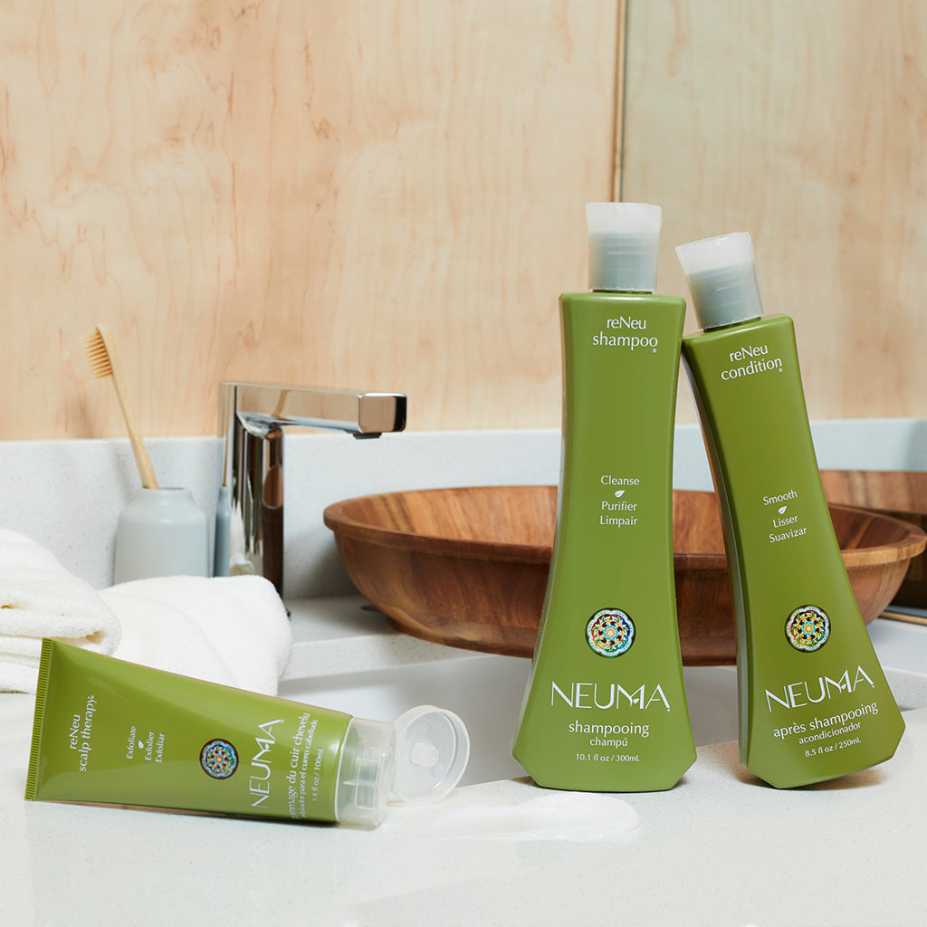 reNeu shampoo, condition and scalp therapy