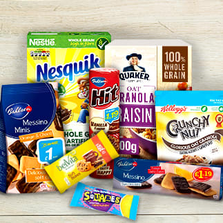 Supermarket biscuits and cereals offers