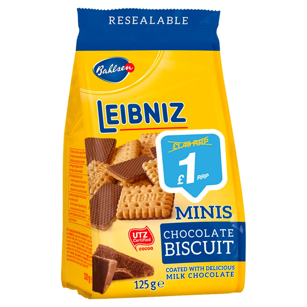 Bahlsen Leibniz Minis Chocolate Biscuit, 125g (Pack of 12)