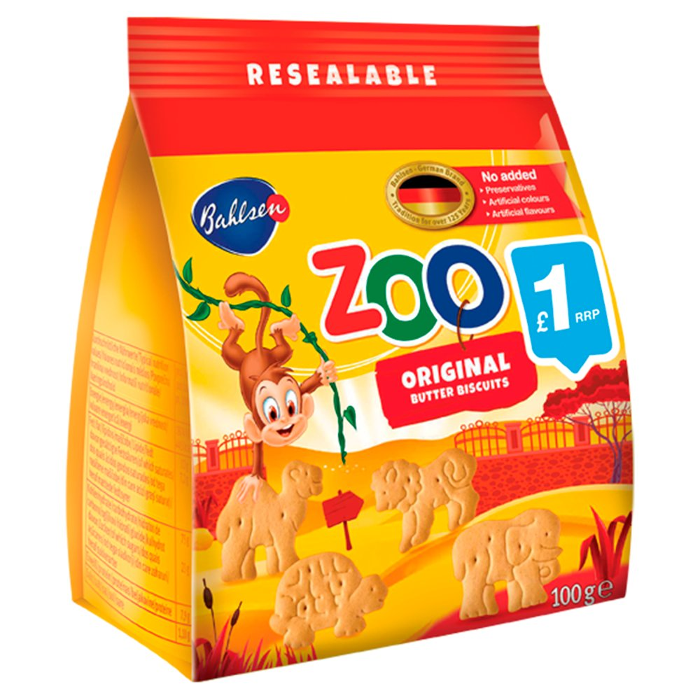 Bahlsen Zoo Original Butter Biscuits, 100g (Pack of 12)