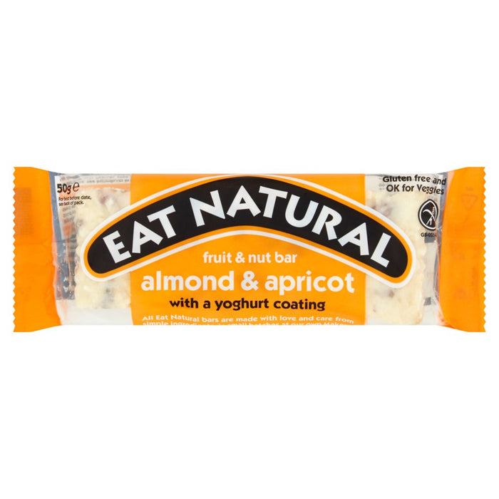 Eat Natural Fruit & Nut Bar Almond & Apricot with a Yoghurt Coating, 50g (Box of 12)