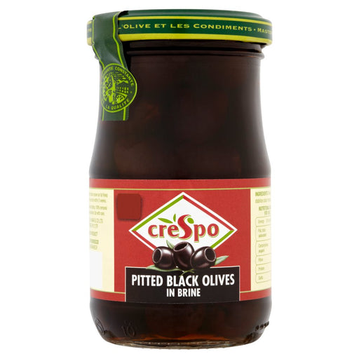 Crespo Pitted Black Olives in Brine 198g (Case of 6)