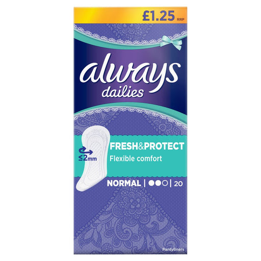 Always Dailies Fresh & Protect Panty Liners Normal x 20