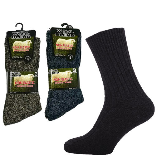 Mens Non Elastic Diabetic Wool Blend Socks
