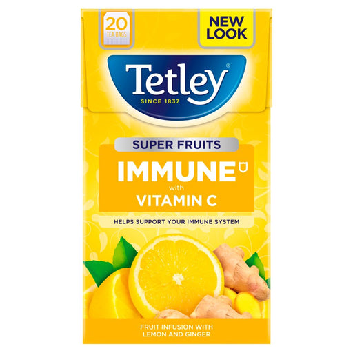 Tetley Super Fruits Immune Lemon & Ginger 20 Tea Bags, 40g (Pack of 4)
