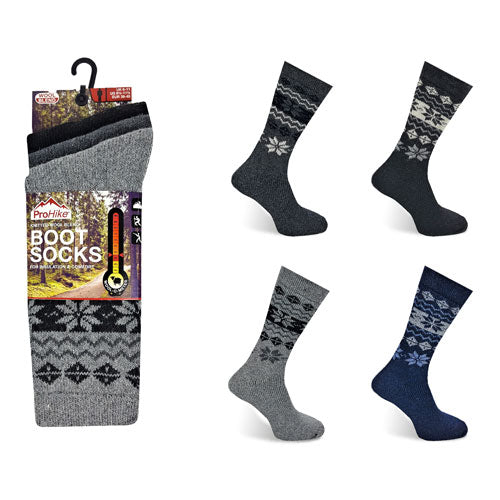 Mens ProHike Fairisle Wool Blend Boot 3 Pairs Socks