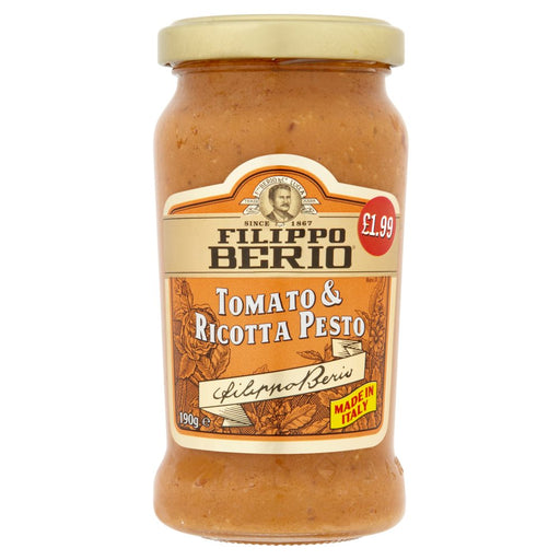 Filippo Berio Tomato & Ricotta Pesto, 190g (Case of 6)