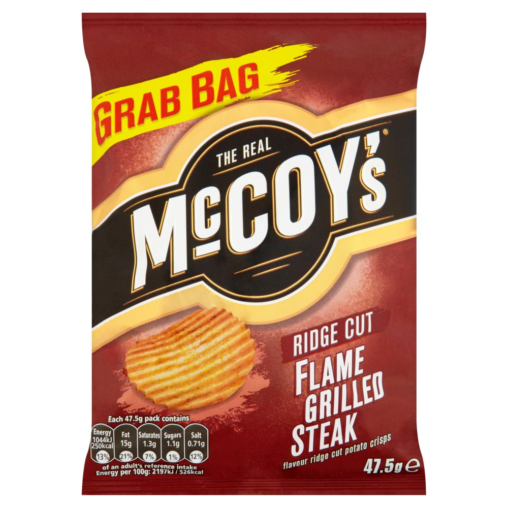 The Real McCoy's Flame Grilled Steak Ridge Cut Potato Crisps, 47.5g (Box of 26)