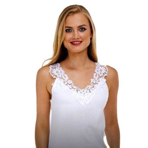 Ladies Cotton Vests White & Pastel Broad Strap