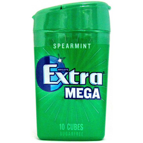 Extra Mega Spearmint Chewing Gum Sugar Free Small Bottle 10 Cubes (Box of 12)