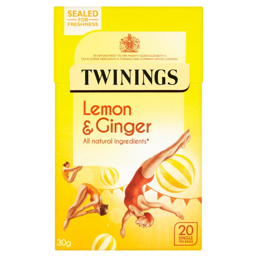 Twinings Lemon & Ginger 20 Single Tea Bags, 30g (Pack of 4)