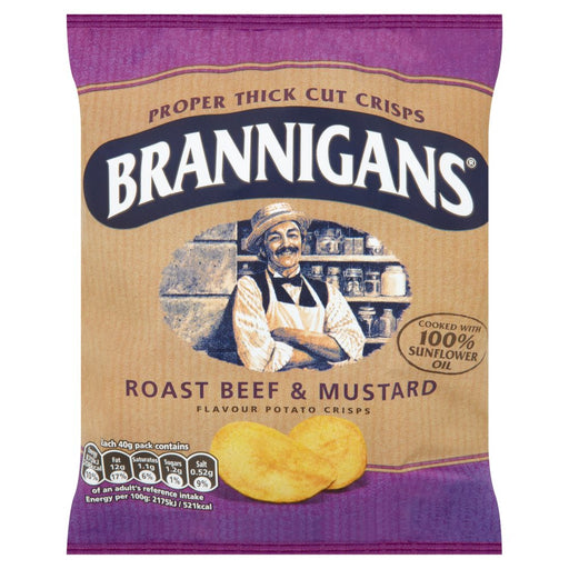 Brannigans Roast Beef & Mustard Potato Crisps, 40g (Box of 18)