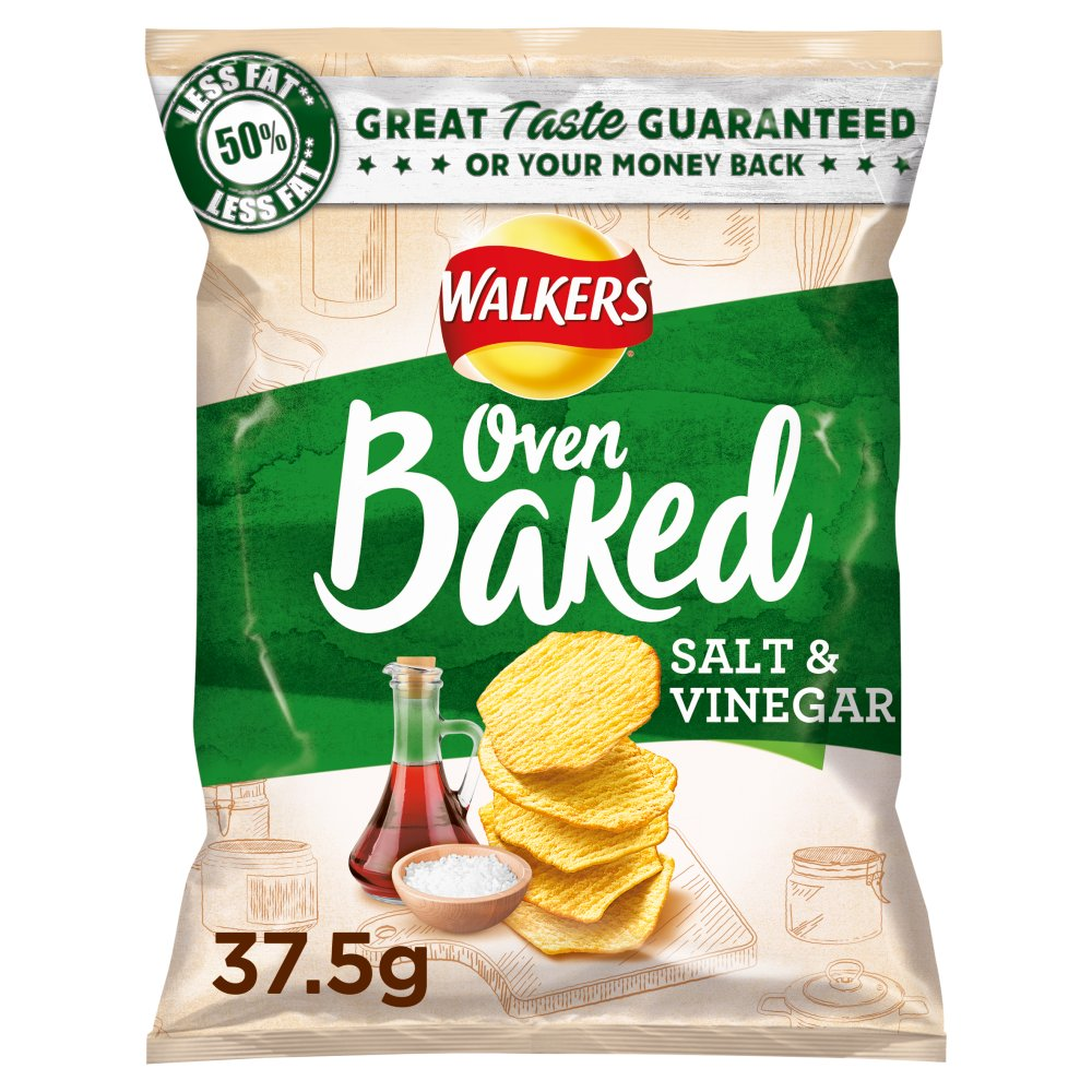Walkers Baked Salt & Vinegar Crisps, 37.5g (Box of 32)
