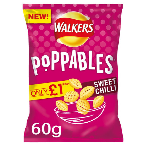 Walkers Poppables Sweet Chilli Snacks, 60g (Box of 12)