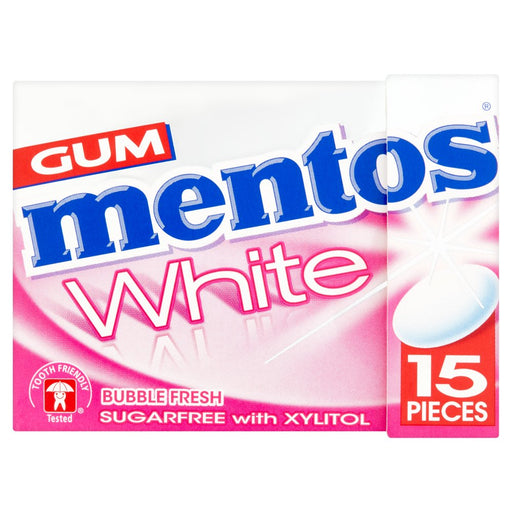 Mentos Gum White Sugar Free Bubble Fresh Fliptop Box 15 Pieces (Pack of 12)