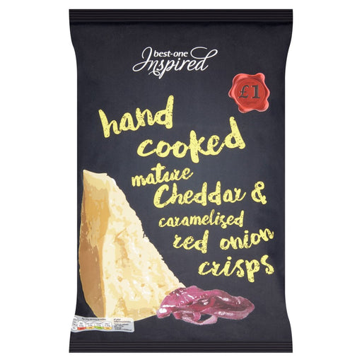 Best-One Inspired Hand Cooked Mature Cheddar & Caramelised Red Onion Crisps 150g