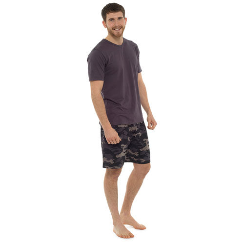 Mens V Neck Pyjama Set With Camo Printed Shorts