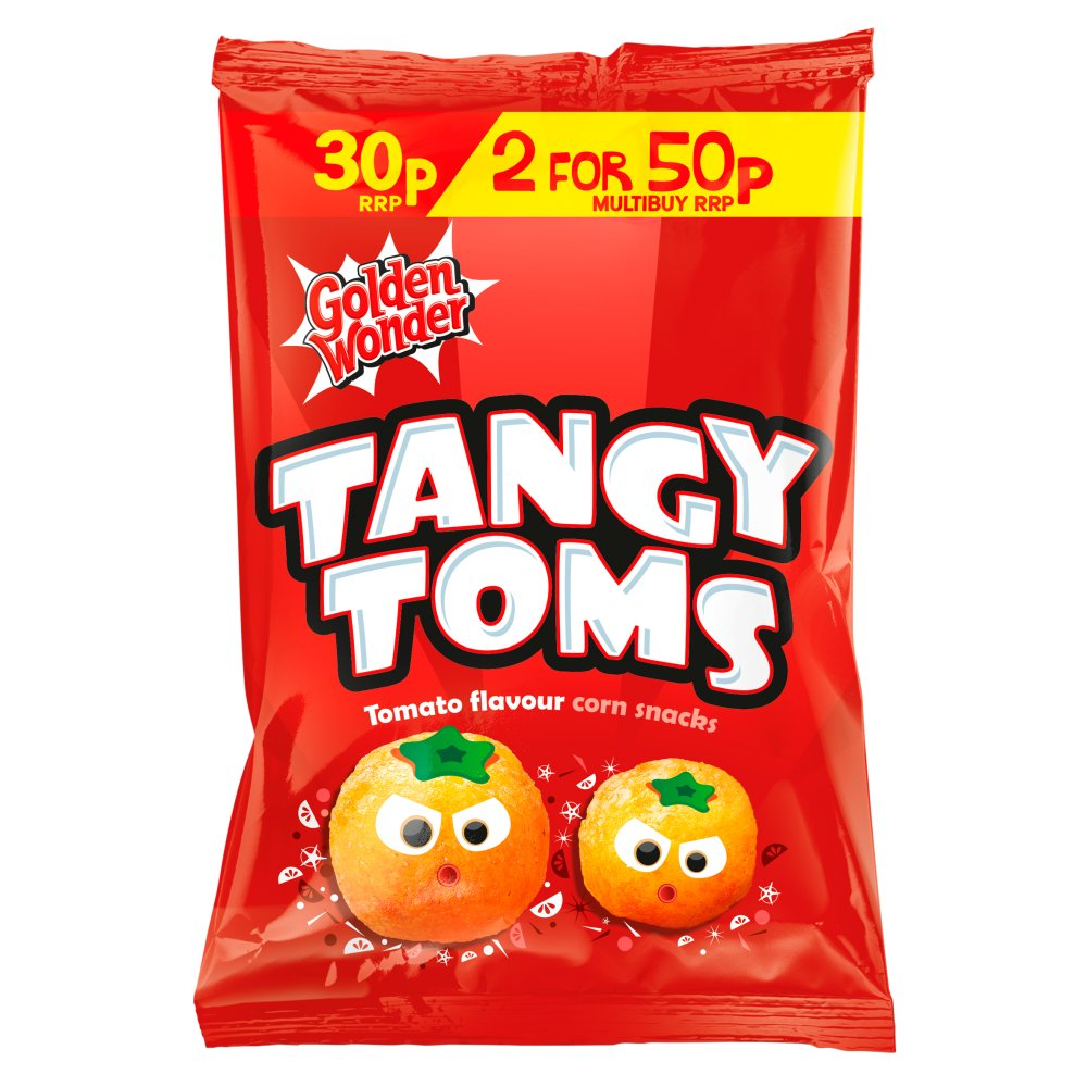 Golden Wonder Tangy Toms Tomato Flavour Corn Snacks, 25g (Box of 36)