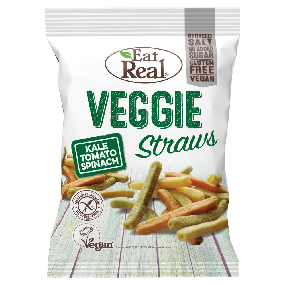 Eat Real Veggie Straws Kale Tomato Spinach, 45g (Box of 12)