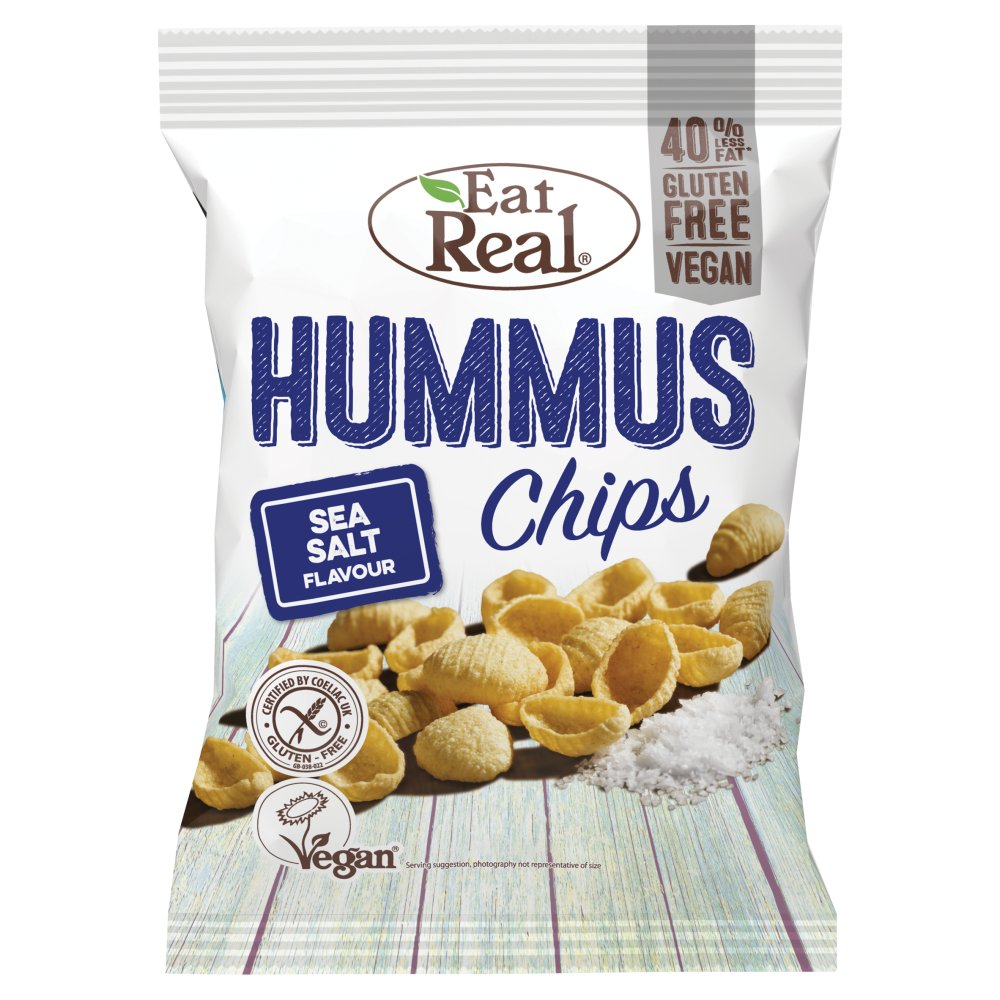 Eat Real Hummus Chips Sea Salt Flavour, 45g (Box of 12)