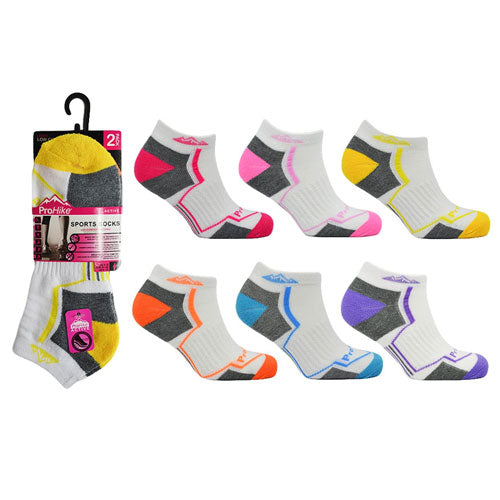 Ladies Pro Hike Cushion Trainer Socks White Stripes (Pack of 2 Pairs)