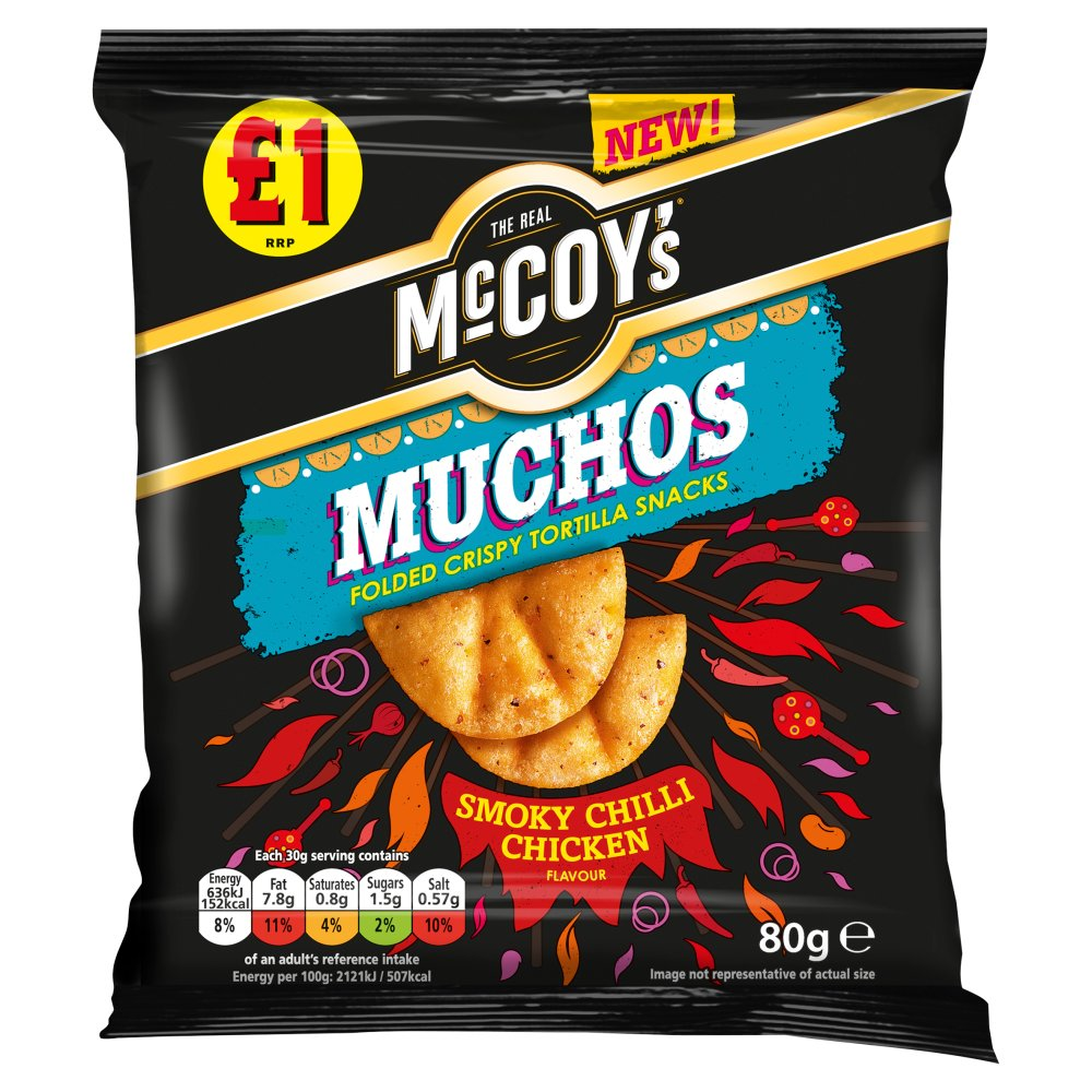 McCoy's Muchos Folded Crispy Tortilla Snacks Smoky Chilli Chicken, 80g (Box of 14)