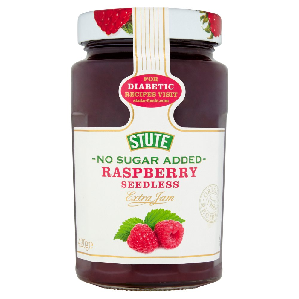 Stute No Sugar Added Raspberry Seedless Extra Jam 430g (Pack of 6)