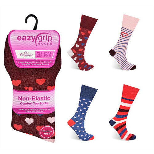 Ladies Eazy Grip Non Elastic Socks Hearts Spots (Pack of 3 Pairs)