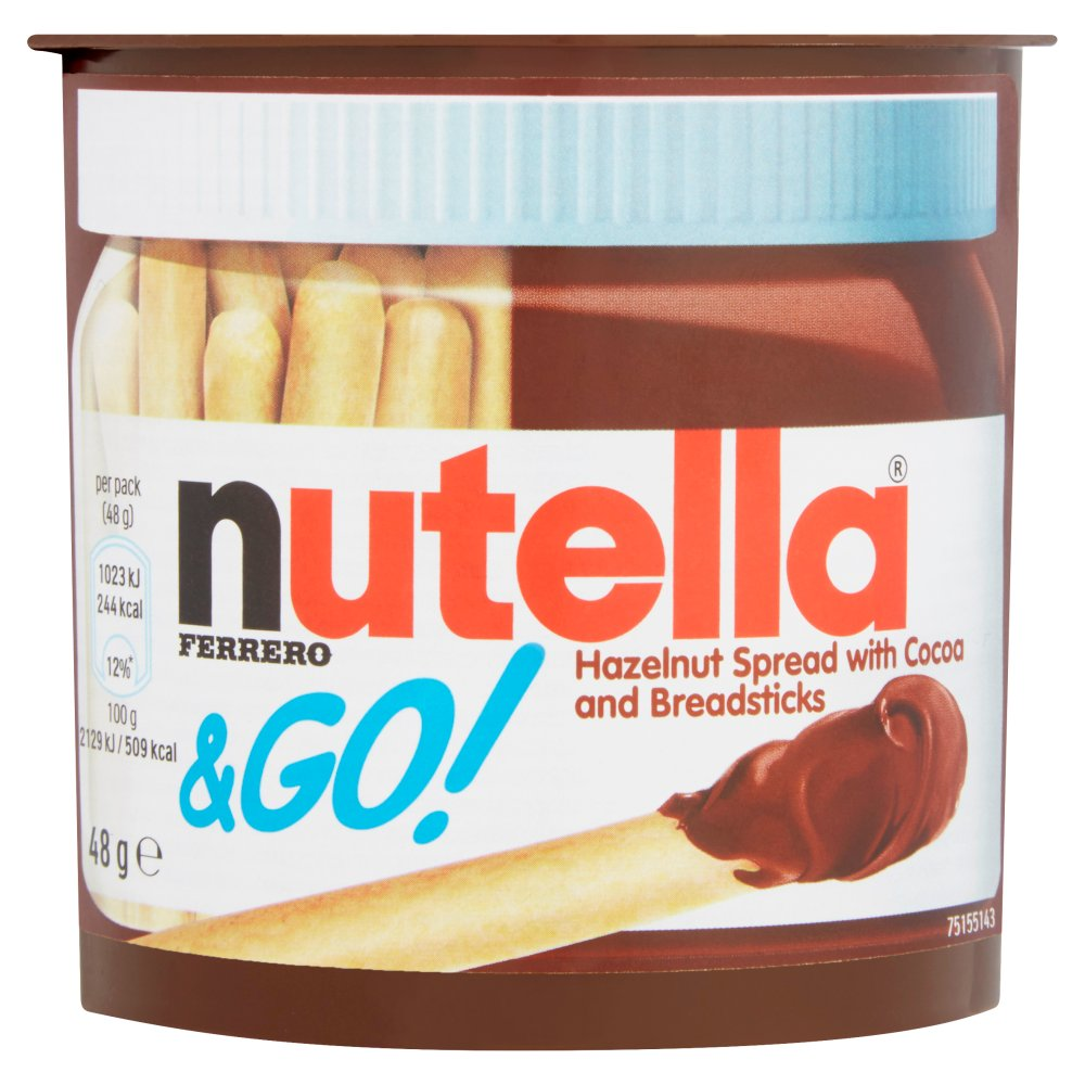 Nutella & Go! Hazelnut Spread with Chocolate Spread and Breadsticks Single 48g (Case of 12)