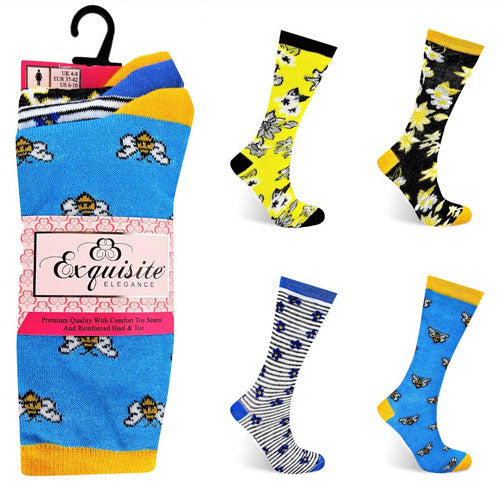 Ladies Exquisite Computer Socks Floral Bee (Pack of 3 Pairs)