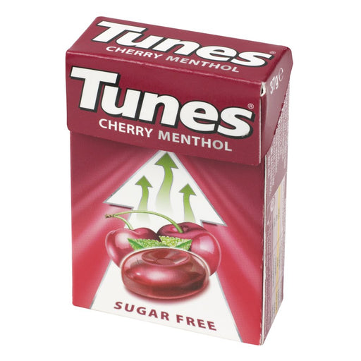 Tunes Cherry Menthol Sugar Free, 37g (Pack of 24)