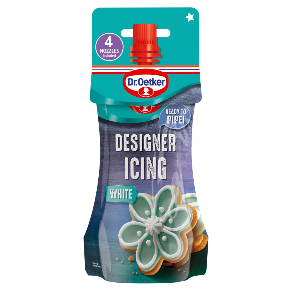 Dr. Oetker White Designer Piping Icing & Nozzles, 140g (Case of 6)