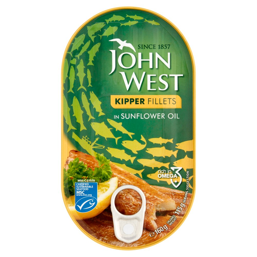 John West Kipper Fillets in Sunflower Oil, 160g (Box of 10)