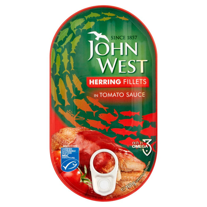 John West Herring Fillets in Tomato Sauce, 160g (Box of 10)